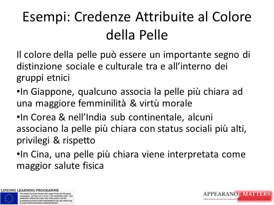 Esempi: Credenze Attribuite al Colore della Pelle Il colore della pelle può essere un importante segno di distinzione sociale e culturale tra e all'in