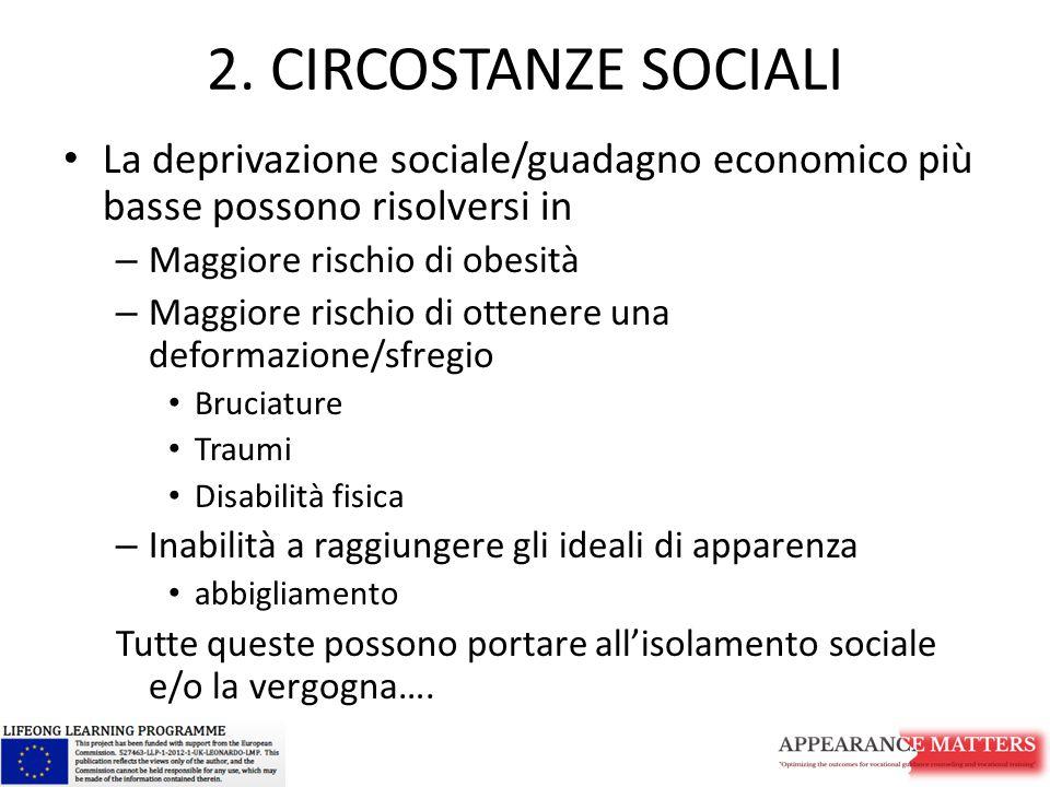 2. CIRCOSTANZE SOCIALI La deprivazione sociale/guadagno economico più basse possono risolversi in – Maggiore rischio di obesità – Maggiore rischio di