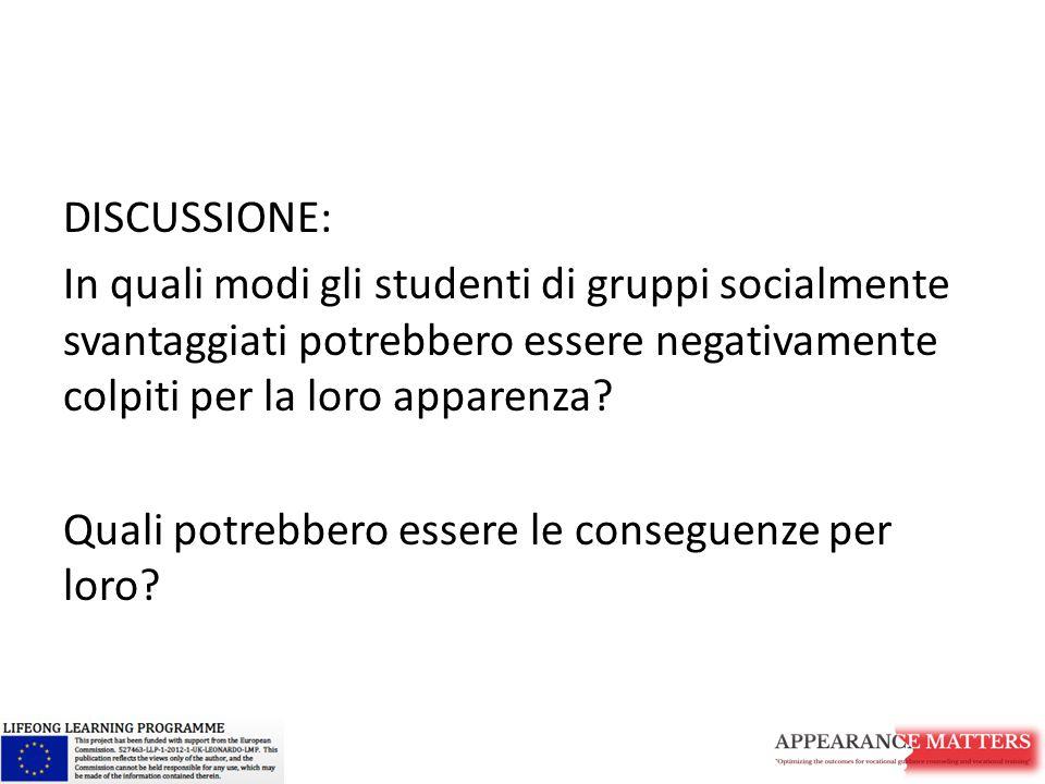 DISCUSSIONE: In quali modi gli studenti di gruppi socialmente svantaggiati potrebbero essere negativamente colpiti per la loro apparenza? Quali potreb