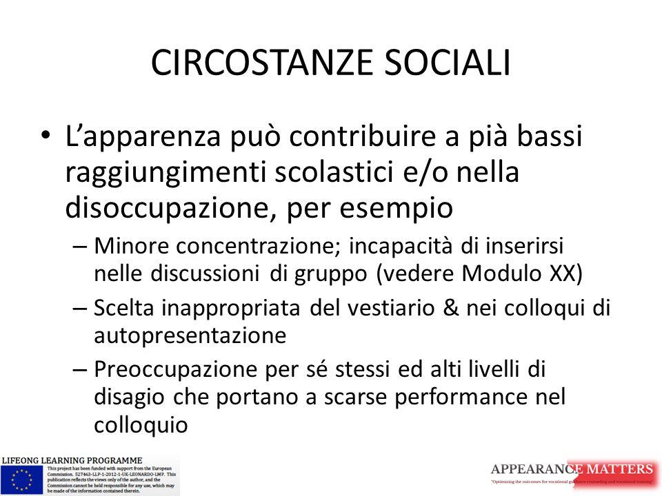 CIRCOSTANZE SOCIALI L'apparenza può contribuire a pià bassi raggiungimenti scolastici e/o nella disoccupazione, per esempio – Minore concentrazione; i