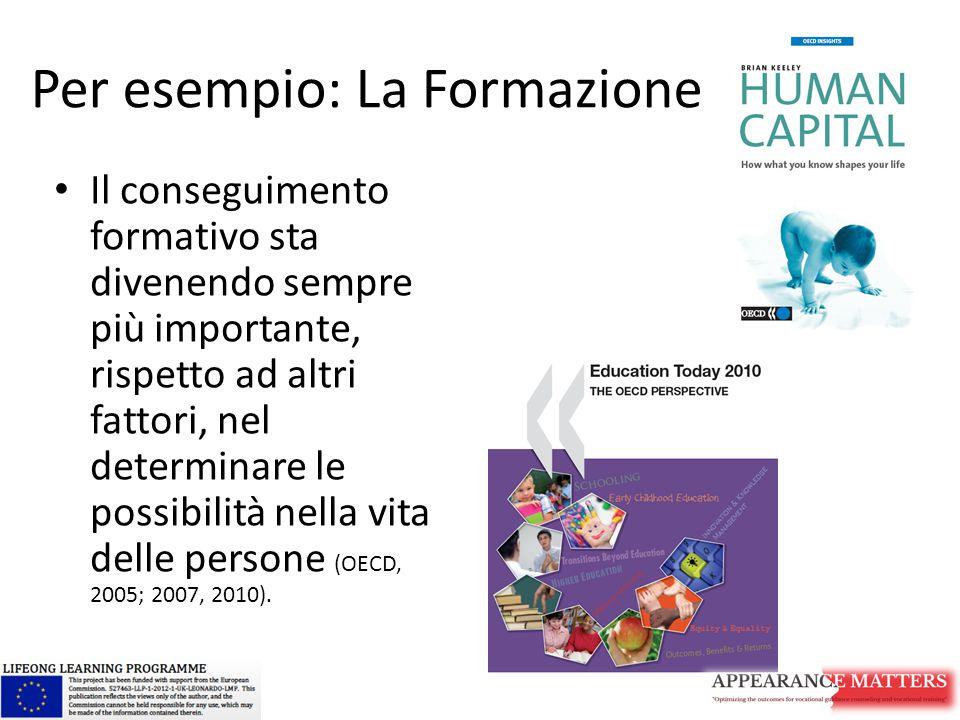 Per esempio: La Formazione Il conseguimento formativo sta divenendo sempre più importante, rispetto ad altri fattori, nel determinare le possibilità n