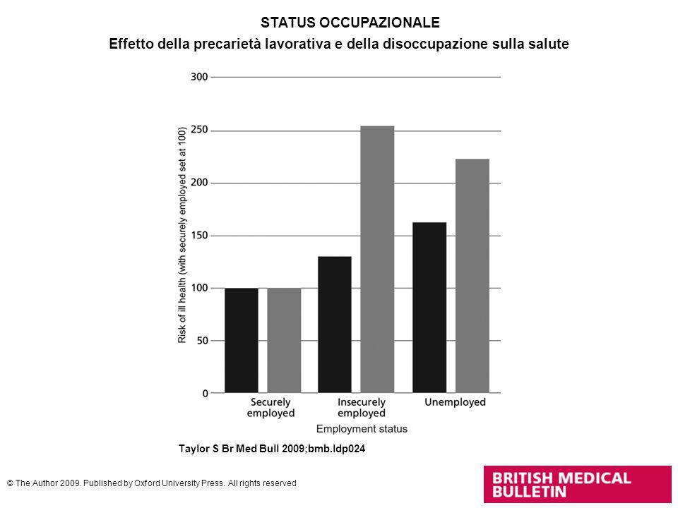 Effetto della precarietà lavorativa e della disoccupazione sulla salute Taylor S Br Med Bull 2009;bmb.ldp024 © The Author 2009. Published by Oxford Un