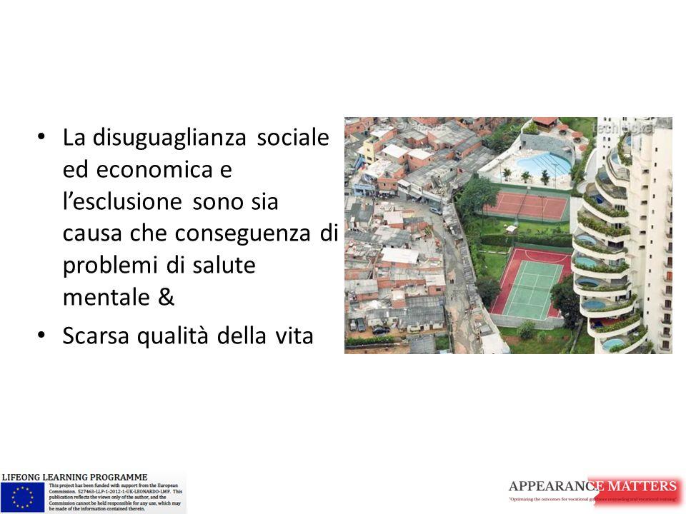 La disuguaglianza sociale ed economica e l'esclusione sono sia causa che conseguenza di problemi di salute mentale & Scarsa qualità della vita
