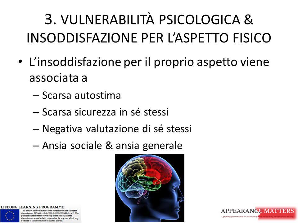 3. VULNERABILITÀ PSICOLOGICA & INSODDISFAZIONE PER L'ASPETTO FISICO L'insoddisfazione per il proprio aspetto viene associata a – Scarsa autostima – Sc
