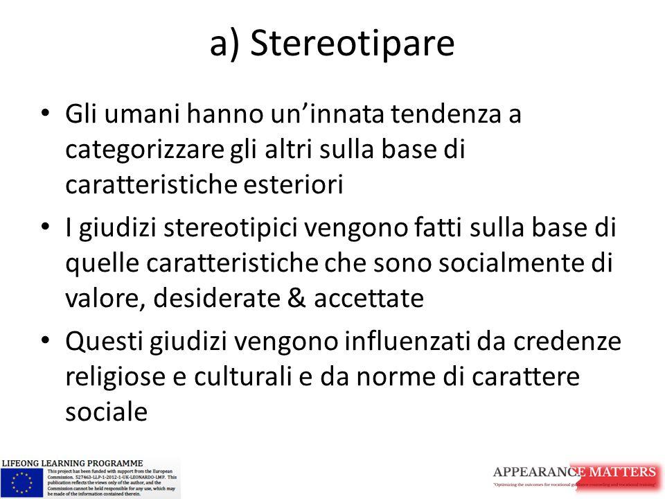 a) Stereotipare Gli umani hanno un'innata tendenza a categorizzare gli altri sulla base di caratteristiche esteriori I giudizi stereotipici vengono fa