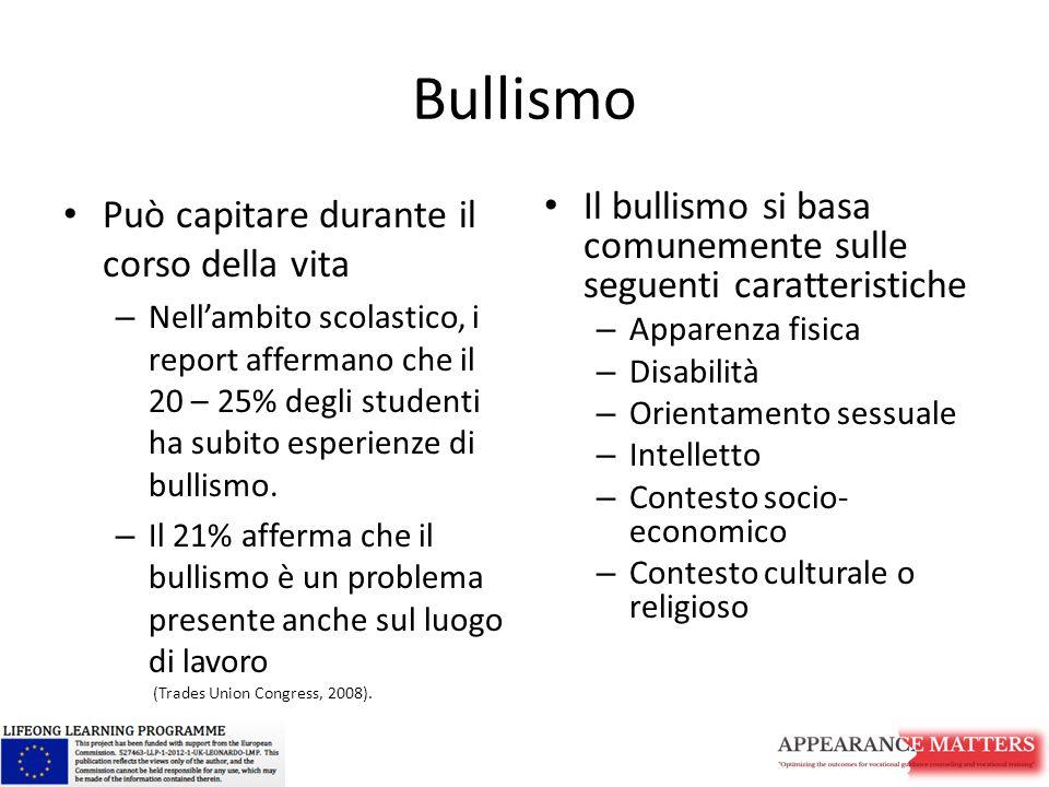 Bullismo Può capitare durante il corso della vita – Nell'ambito scolastico, i report affermano che il 20 – 25% degli studenti ha subito esperienze di