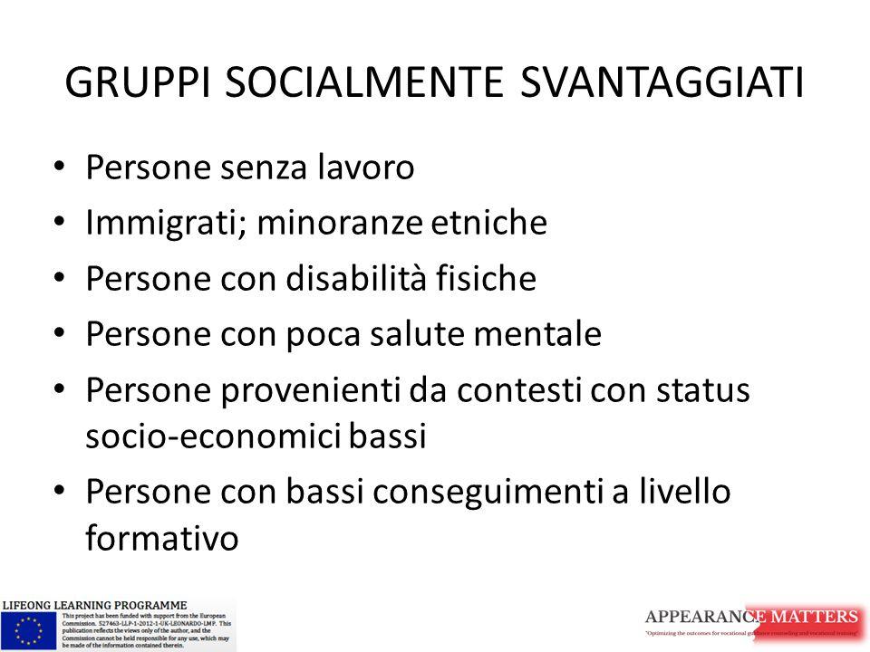 GRUPPI SOCIALMENTE SVANTAGGIATI Persone senza lavoro Immigrati; minoranze etniche Persone con disabilità fisiche Persone con poca salute mentale Perso
