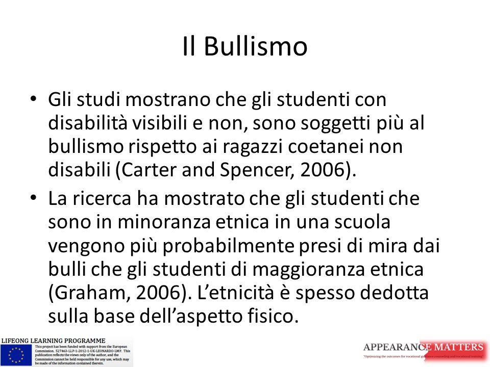 Il Bullismo Gli studi mostrano che gli studenti con disabilità visibili e non, sono soggetti più al bullismo rispetto ai ragazzi coetanei non disabili