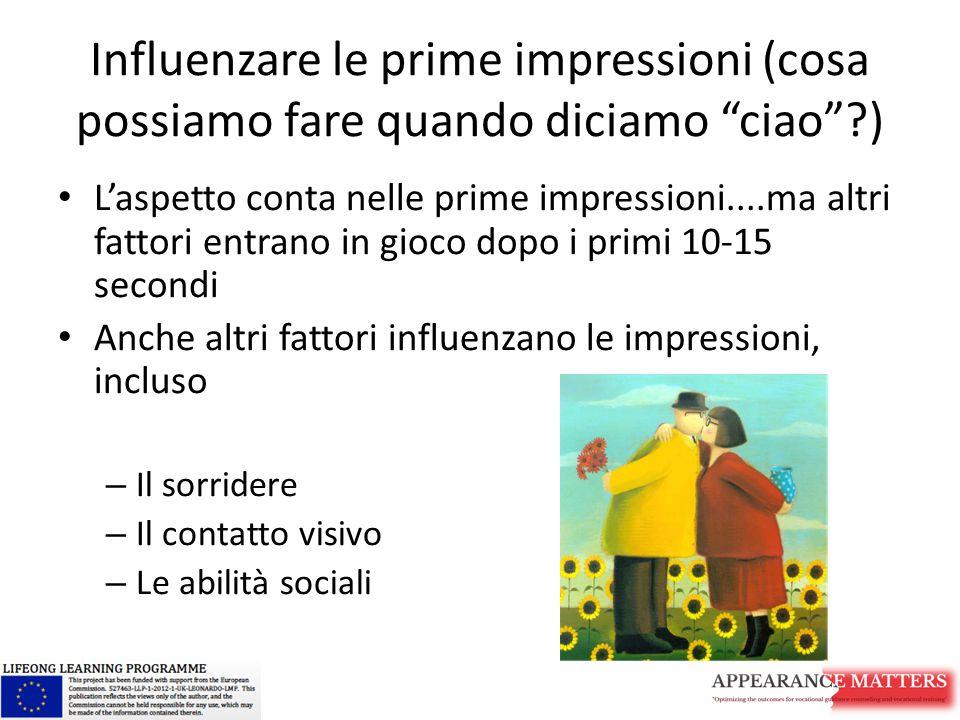 """Influenzare le prime impressioni (cosa possiamo fare quando diciamo """"ciao""""?) L'aspetto conta nelle prime impressioni....ma altri fattori entrano in gi"""