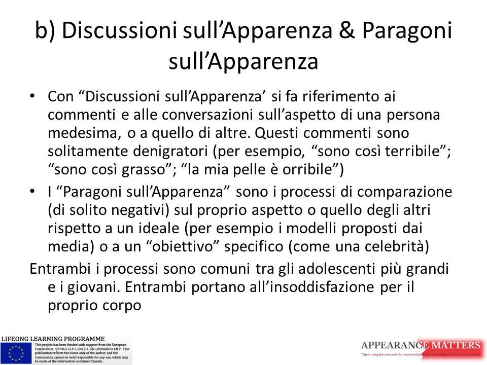 """b) Discussioni sull'Apparenza & Paragoni sull'Apparenza Con """"Discussioni sull'Apparenza' si fa riferimento ai commenti e alle conversazioni sull'aspet"""