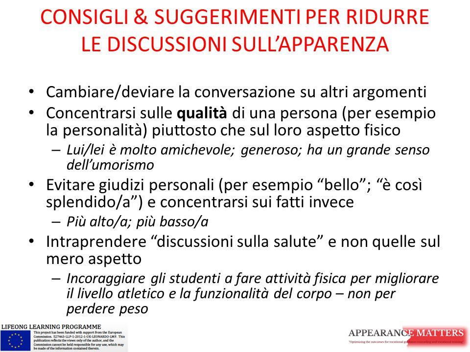 CONSIGLI & SUGGERIMENTI PER RIDURRE LE DISCUSSIONI SULL'APPARENZA Cambiare/deviare la conversazione su altri argomenti Concentrarsi sulle qualità di u