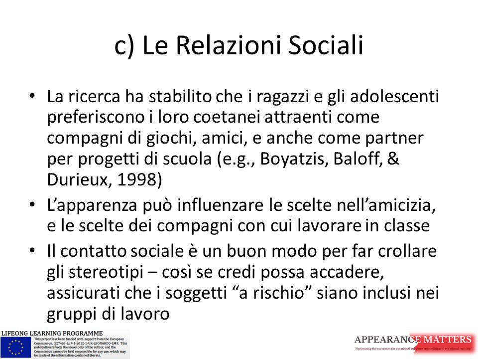 c) Le Relazioni Sociali La ricerca ha stabilito che i ragazzi e gli adolescenti preferiscono i loro coetanei attraenti come compagni di giochi, amici,