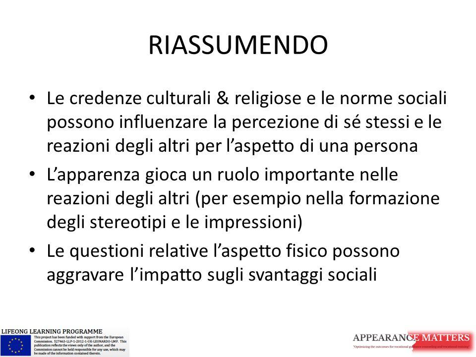 RIASSUMENDO Le credenze culturali & religiose e le norme sociali possono influenzare la percezione di sé stessi e le reazioni degli altri per l'aspett