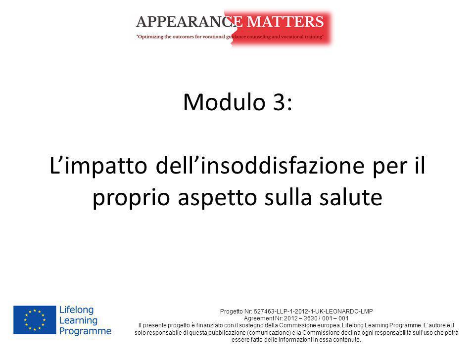 Modulo 3: L'impatto dell'insoddisfazione per il proprio aspetto sulla salute Progetto Nr: 527463-LLP-1-2012-1-UK-LEONARDO-LMP Agreement Nr: 2012 – 363