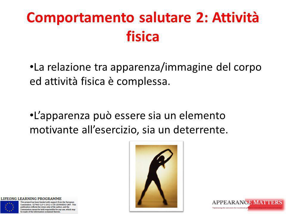 Comportamento salutare 2: Attività fisica La relazione tra apparenza/immagine del corpo ed attività fisica è complessa. L'apparenza può essere sia un