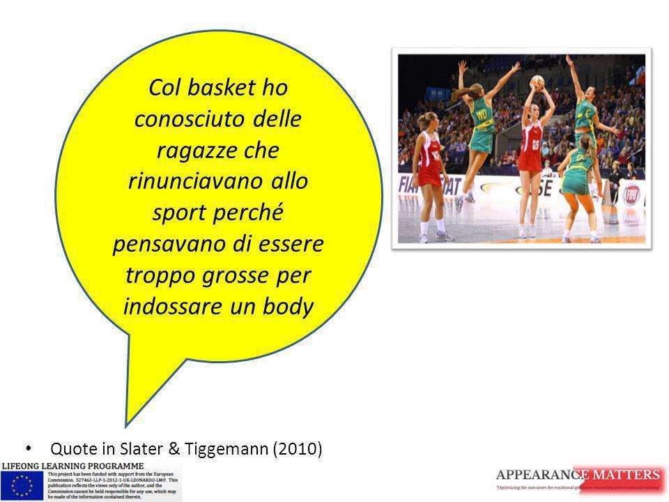Quote in Slater & Tiggemann (2010) Col basket ho conosciuto delle ragazze che rinunciavano allo sport perché pensavano di essere troppo grosse per ind