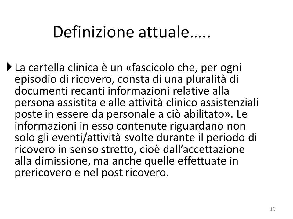 10 Definizione attuale…..  La cartella clinica è un «fascicolo che, per ogni episodio di ricovero, consta di una pluralità di documenti recanti infor