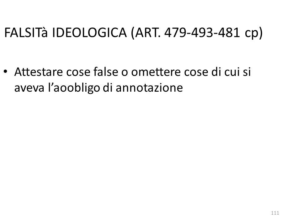 111 FALSITà IDEOLOGICA (ART. 479-493-481 cp) Attestare cose false o omettere cose di cui si aveva l'aoobligo di annotazione
