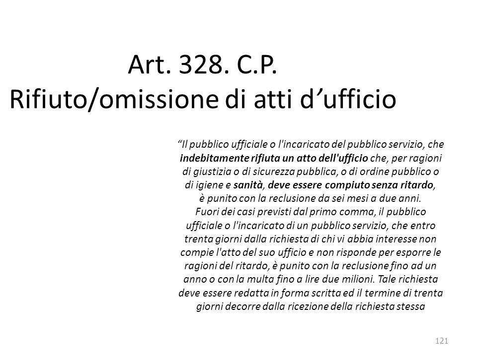 """121 Art. 328. C.P. Rifiuto/omissione di atti d'ufficio """"Il pubblico ufficiale o l'incaricato del pubblico servizio, che indebitamente rifiuta un atto"""