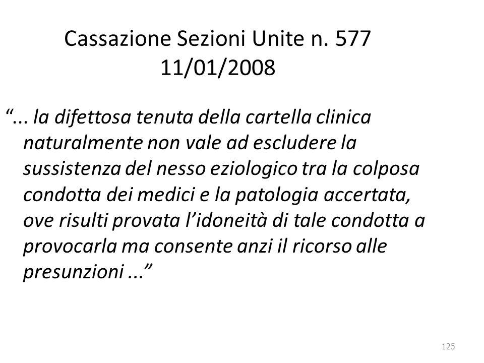 """125 Cassazione Sezioni Unite n. 577 11/01/2008 """"... la difettosa tenuta della cartella clinica naturalmente non vale ad escludere la sussistenza del n"""