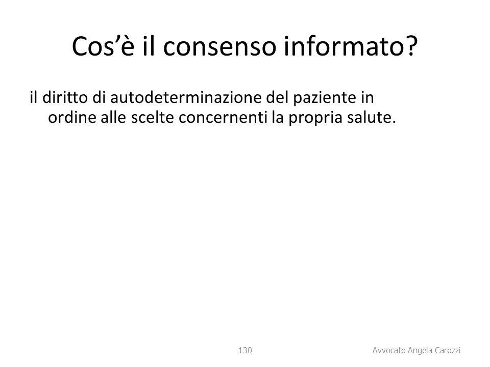 130 Cos'è il consenso informato? il diritto di autodeterminazione del paziente in ordine alle scelte concernenti la propria salute. 130 Avvocato Angel