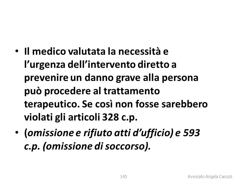 145 Il medico valutata la necessità e l'urgenza dell'intervento diretto a prevenire un danno grave alla persona può procedere al trattamento terapeuti