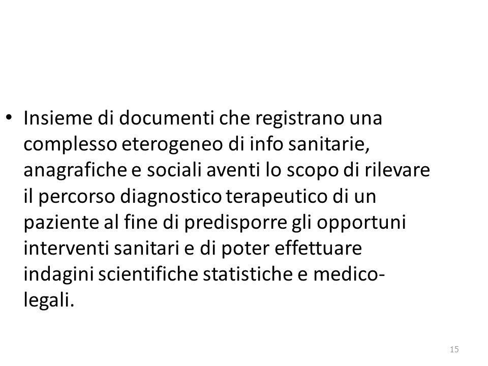 15 Insieme di documenti che registrano una complesso eterogeneo di info sanitarie, anagrafiche e sociali aventi lo scopo di rilevare il percorso diagn