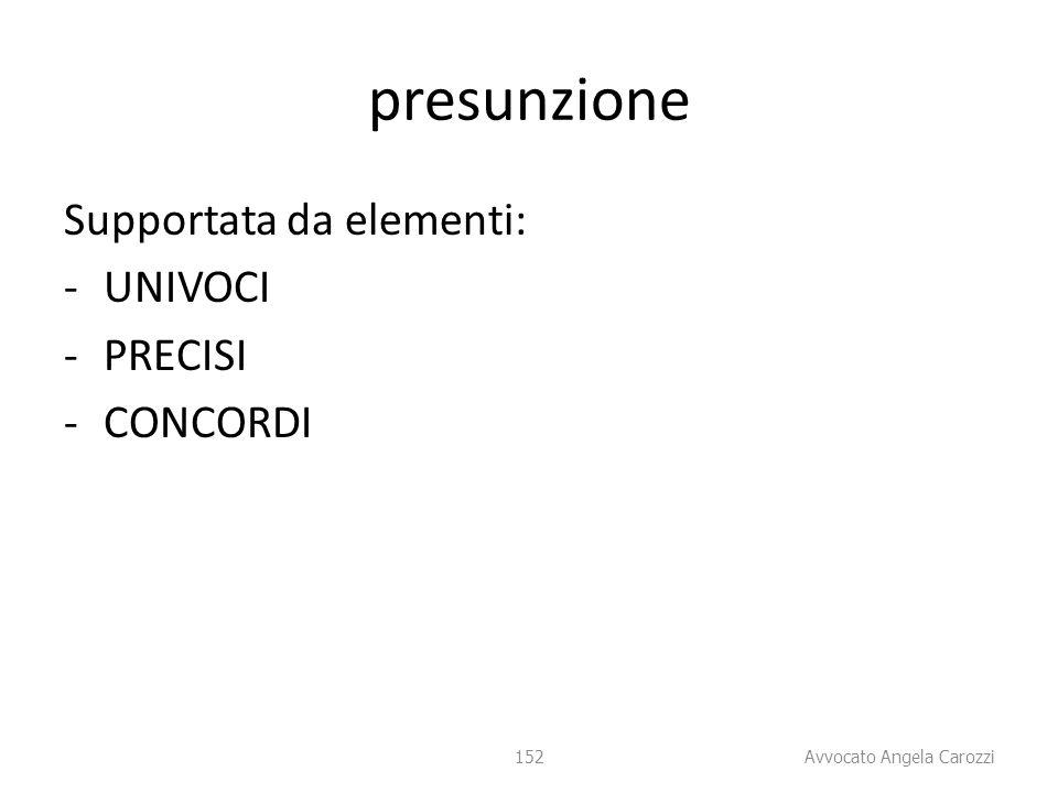 152 presunzione Supportata da elementi: -UNIVOCI -PRECISI -CONCORDI 152 Avvocato Angela Carozzi