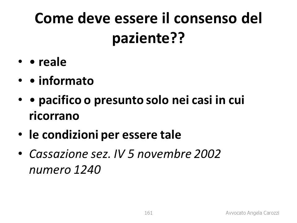 161 Come deve essere il consenso del paziente?? reale informato pacifico o presunto solo nei casi in cui ricorrano le condizioni per essere tale Cassa