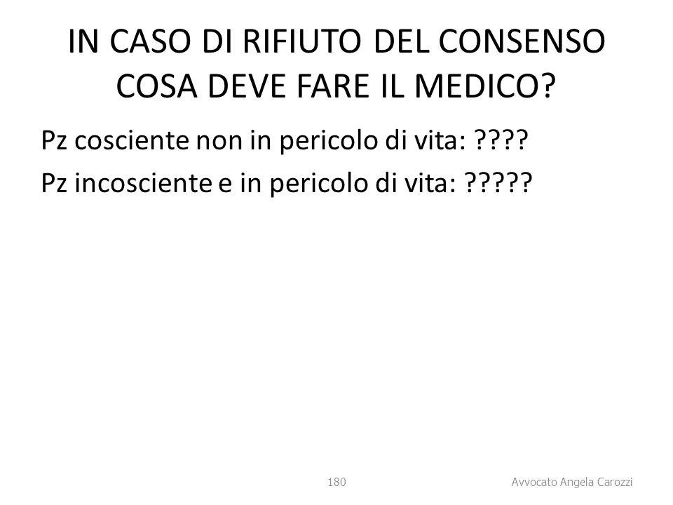 180 IN CASO DI RIFIUTO DEL CONSENSO COSA DEVE FARE IL MEDICO? Pz cosciente non in pericolo di vita: ???? Pz incosciente e in pericolo di vita: ????? 1