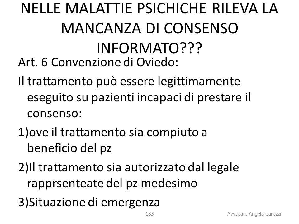 183 NELLE MALATTIE PSICHICHE RILEVA LA MANCANZA DI CONSENSO INFORMATO??? Art. 6 Convenzione di Oviedo: Il trattamento può essere legittimamente esegui