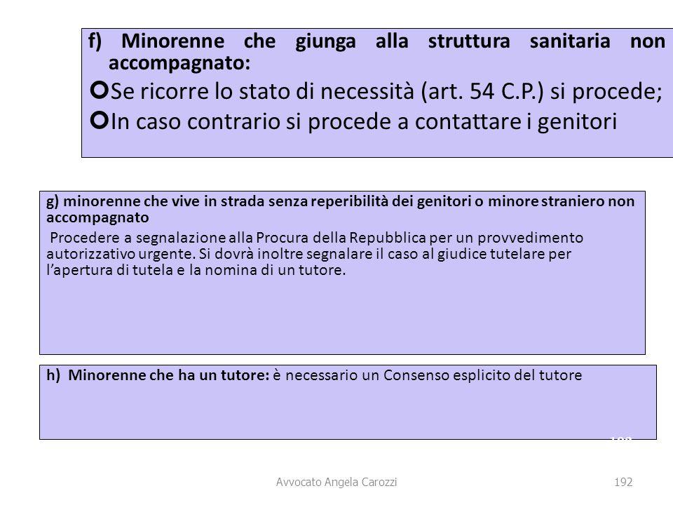 192 f) Minorenne che giunga alla struttura sanitaria non accompagnato: Se ricorre lo stato di necessità (art. 54 C.P.) si procede; In caso contrario s