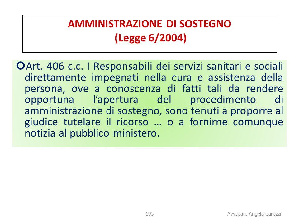 195 AMMINISTRAZIONE DI SOSTEGNO (Legge 6/2004) Art. 406 c.c. I Responsabili dei servizi sanitari e sociali direttamente impegnati nella cura e assiste