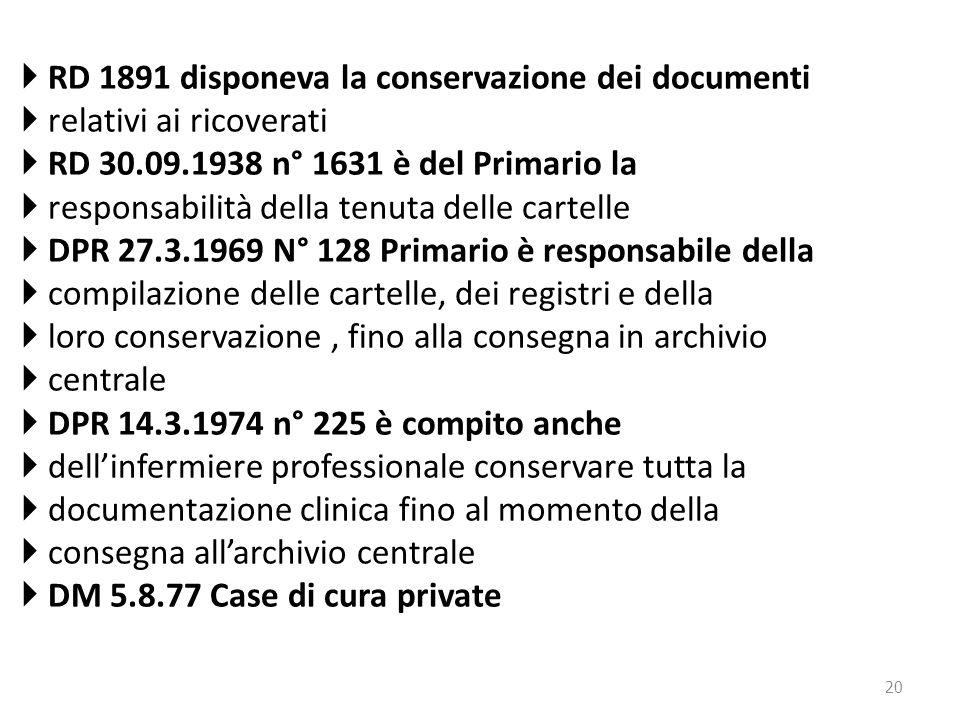 20  RD 1891 disponeva la conservazione dei documenti  relativi ai ricoverati  RD 30.09.1938 n° 1631 è del Primario la  responsabilità della tenuta
