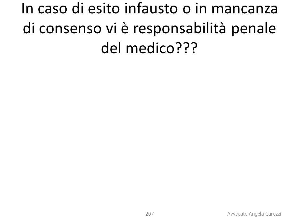 207 In caso di esito infausto o in mancanza di consenso vi è responsabilità penale del medico??? 207 Avvocato Angela Carozzi