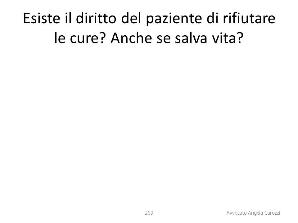 209 Esiste il diritto del paziente di rifiutare le cure? Anche se salva vita? 209 Avvocato Angela Carozzi