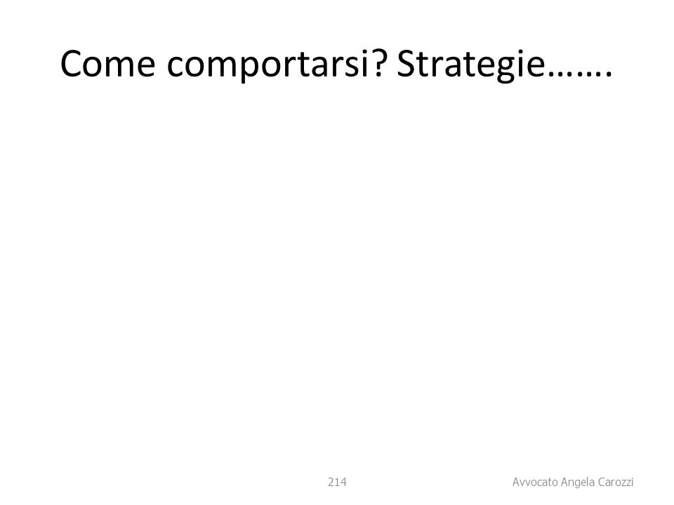 214 Come comportarsi? Strategie……. 214 Avvocato Angela Carozzi