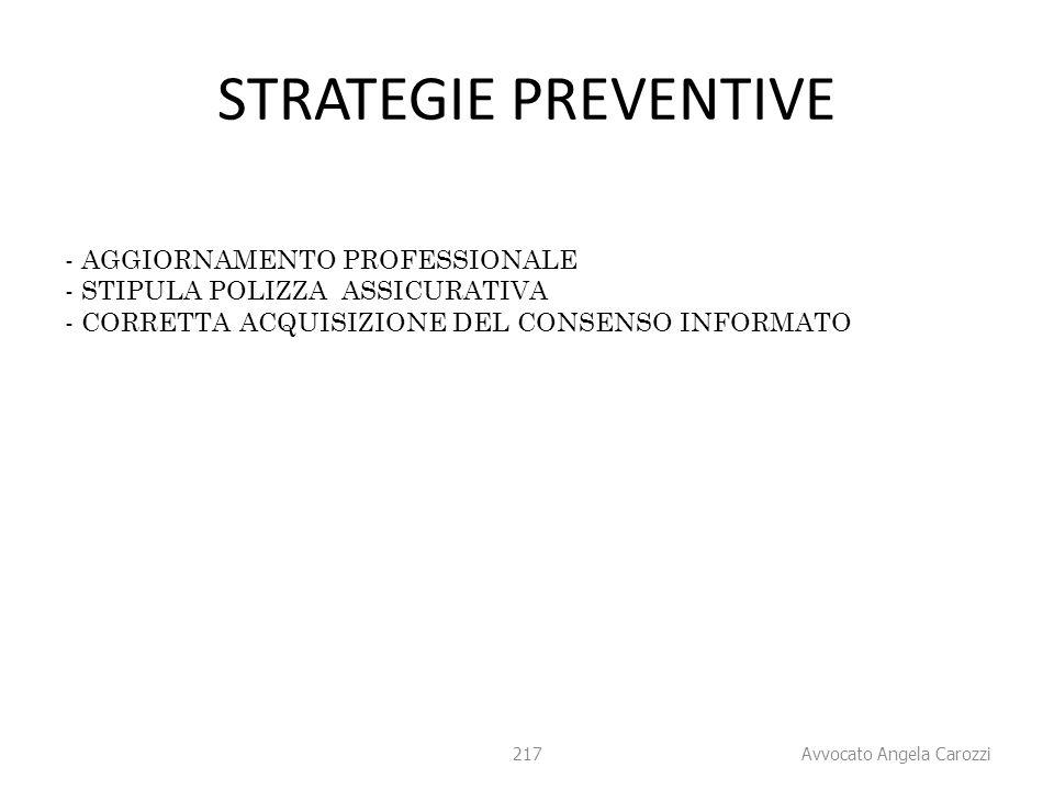 217 STRATEGIE PREVENTIVE - AGGIORNAMENTO PROFESSIONALE - STIPULA POLIZZA ASSICURATIVA - CORRETTA ACQUISIZIONE DEL CONSENSO INFORMATO 217 Avvocato Ange