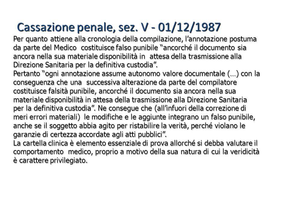 Cassazione penale, sez. V - 01/12/1987 Per quanto attiene alla cronologia della compilazione, l'annotazione postuma da parte del Medico costituisce fa