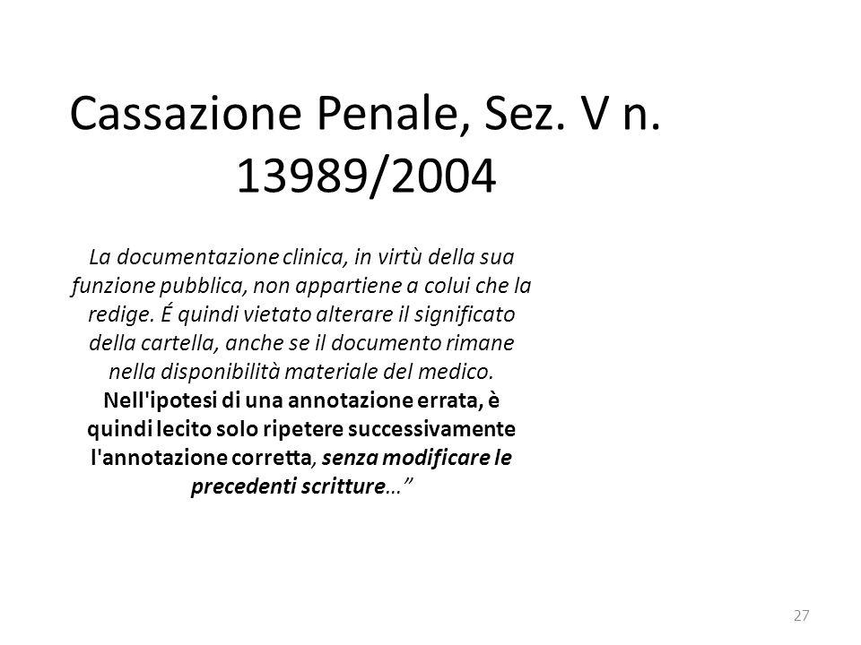 27 Cassazione Penale, Sez. V n. 13989/2004 La documentazione clinica, in virtù della sua funzione pubblica, non appartiene a colui che la redige. É qu