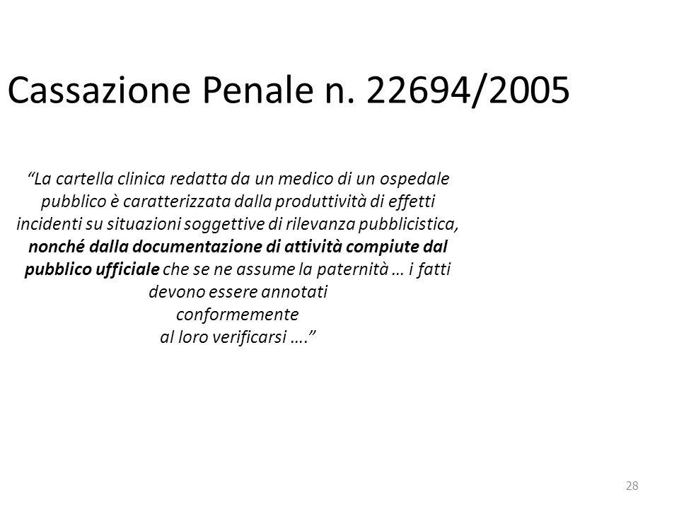 """28 Cassazione Penale n. 22694/2005 """"La cartella clinica redatta da un medico di un ospedale pubblico è caratterizzata dalla produttività di effetti in"""