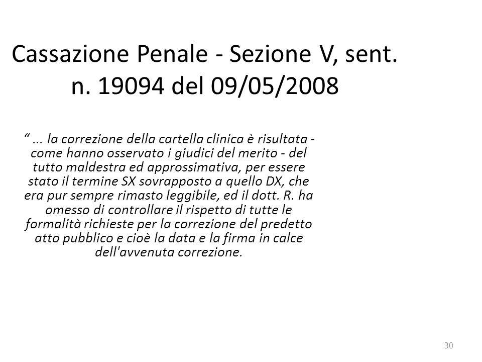 """30 Cassazione Penale - Sezione V, sent. n. 19094 del 09/05/2008 """"... la correzione della cartella clinica è risultata - come hanno osservato i giudici"""