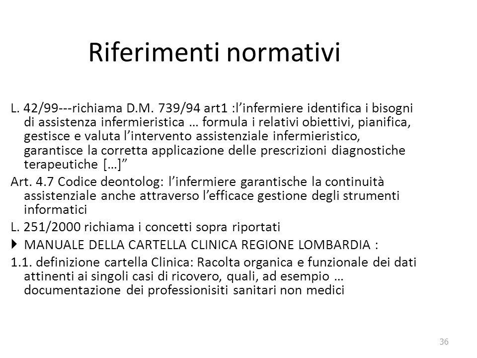 36 Riferimenti normativi L. 42/99---richiama D.M. 739/94 art1 :l'infermiere identifica i bisogni di assistenza infermieristica … formula i relativi ob