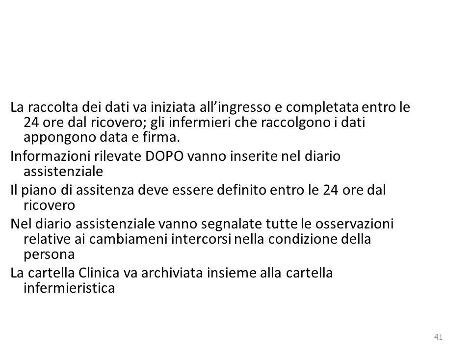 41 La raccolta dei dati va iniziata all'ingresso e completata entro le 24 ore dal ricovero; gli infermieri che raccolgono i dati appongono data e firm