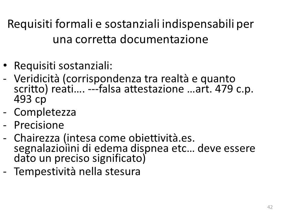 42 Requisiti formali e sostanziali indispensabili per una corretta documentazione Requisiti sostanziali: -Veridicità (corrispondenza tra realtà e quan
