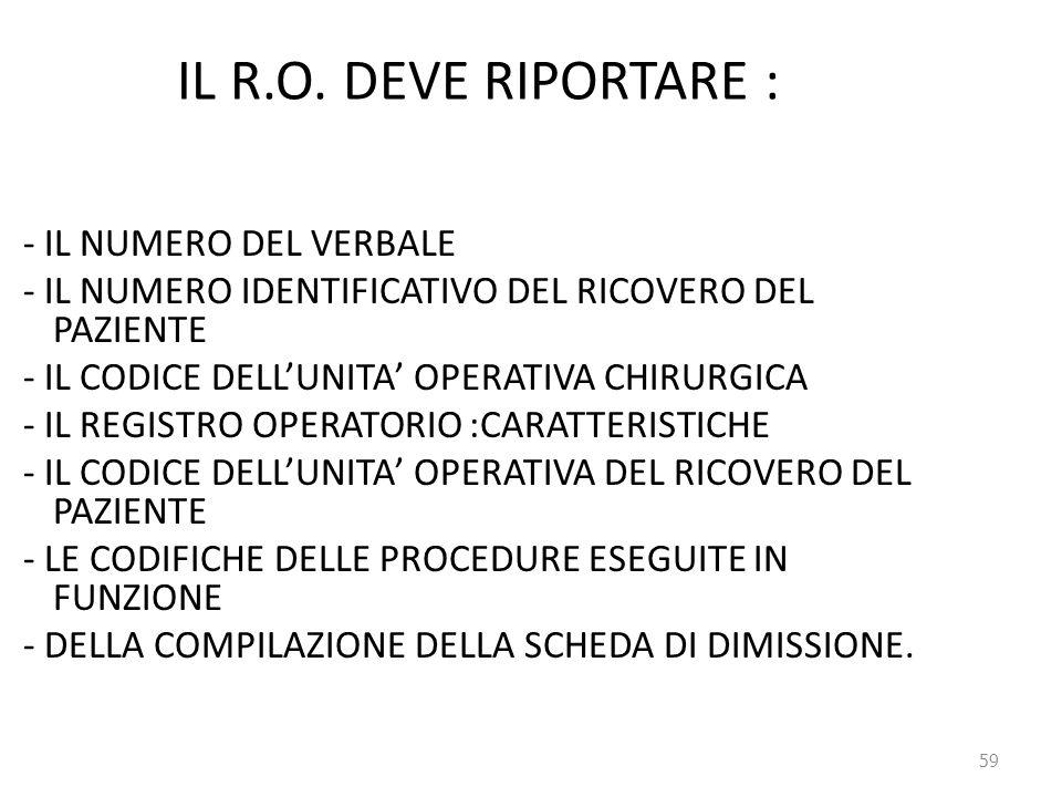 59 IL R.O. DEVE RIPORTARE : - IL NUMERO DEL VERBALE - IL NUMERO IDENTIFICATIVO DEL RICOVERO DEL PAZIENTE - IL CODICE DELL'UNITA' OPERATIVA CHIRURGICA