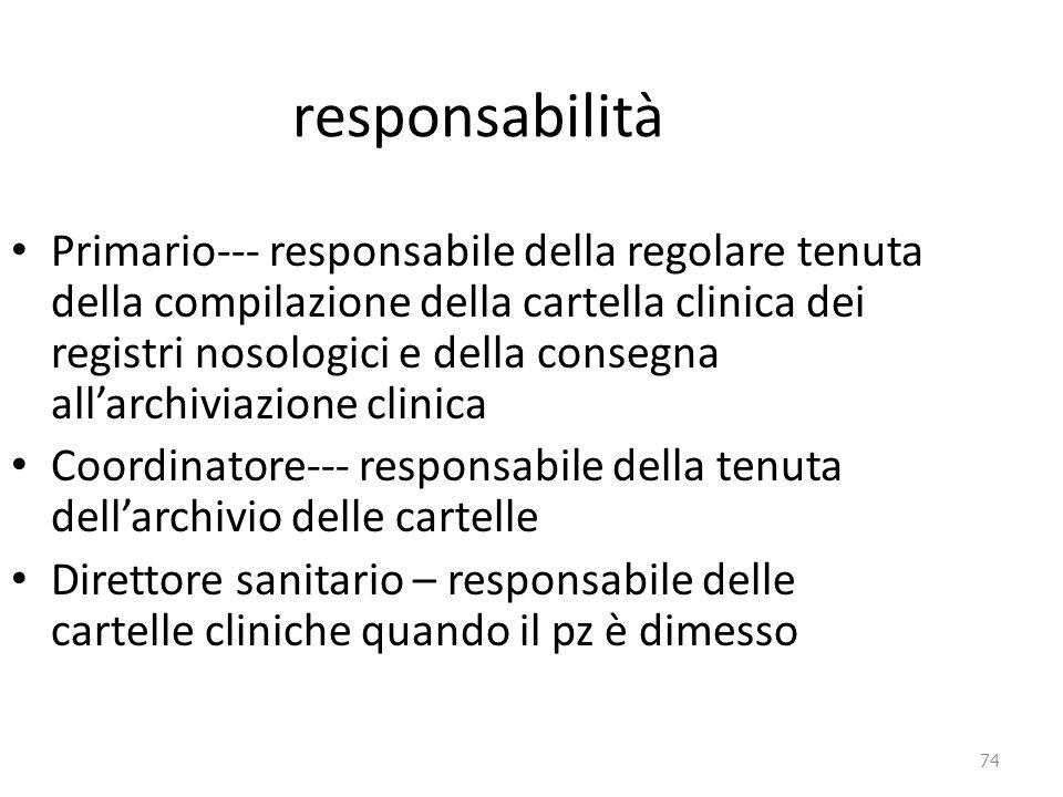 74 responsabilità Primario--- responsabile della regolare tenuta della compilazione della cartella clinica dei registri nosologici e della consegna al