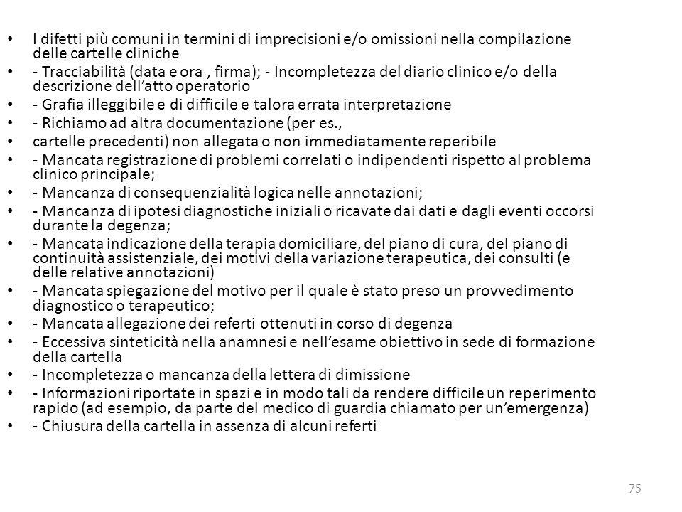 75 I difetti più comuni in termini di imprecisioni e/o omissioni nella compilazione delle cartelle cliniche - Tracciabilità (data e ora, firma); - Inc
