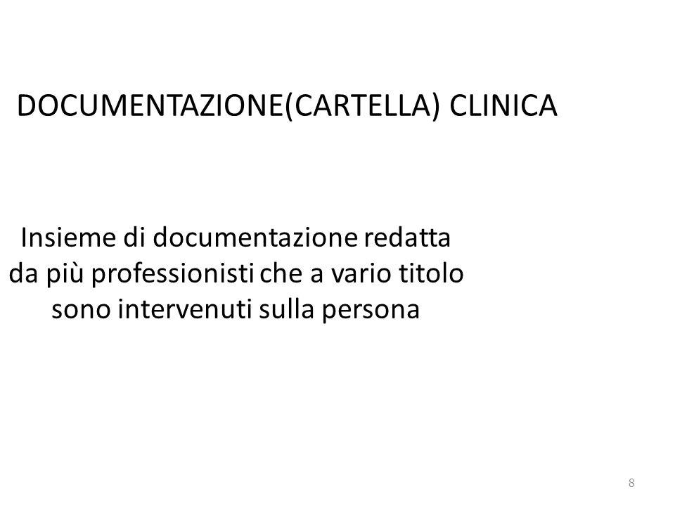 8 DOCUMENTAZIONE(CARTELLA) CLINICA Insieme di documentazione redatta da più professionisti che a vario titolo sono intervenuti sulla persona