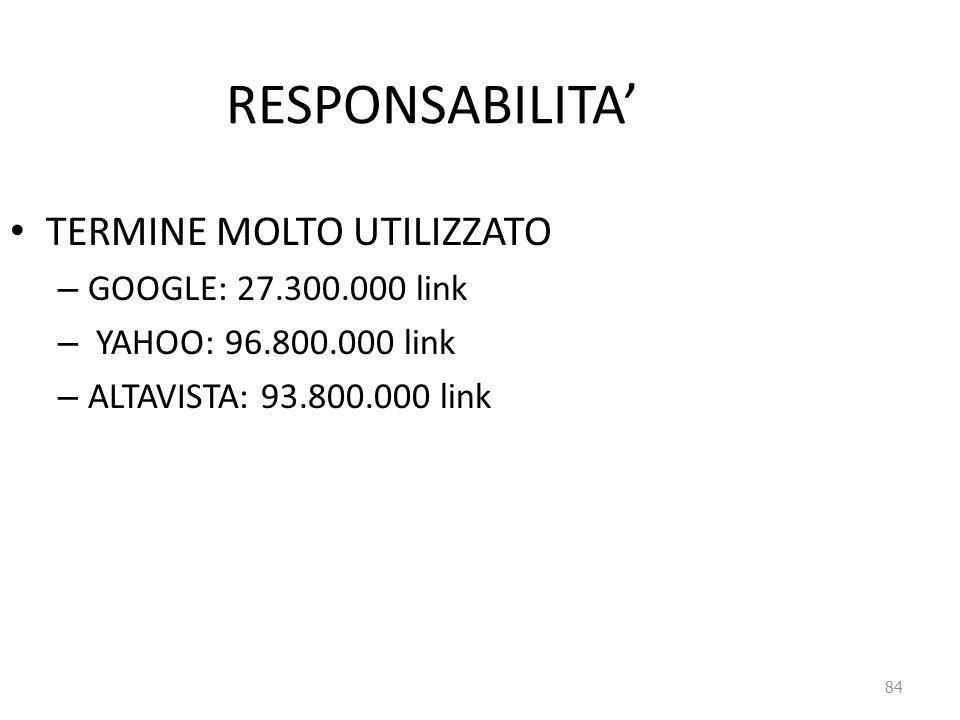 84 RESPONSABILITA' TERMINE MOLTO UTILIZZATO – GOOGLE: 27.300.000 link – YAHOO: 96.800.000 link – ALTAVISTA: 93.800.000 link